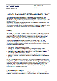 QUALITY, ENVIRONMENT, SAFETY AND HEALTH POLICY